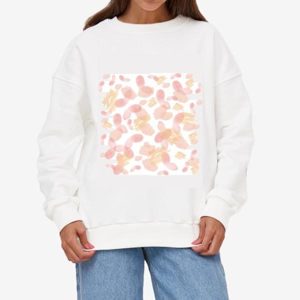 Свитшот «Абстракция акварельная розовая»