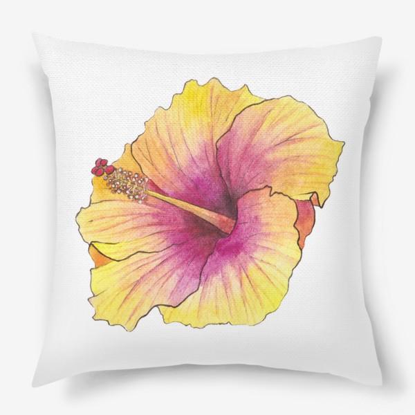 Подушка «Желтый цветок. Гибискус»