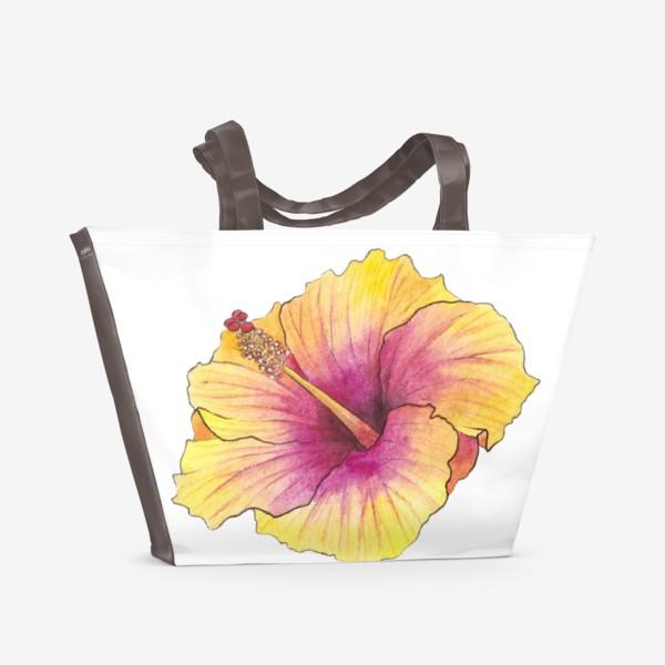 Пляжная сумка «Желтый цветок. Гибискус»