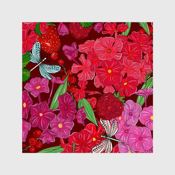 Шторы «красные цветы, ягоды и стрекоза»