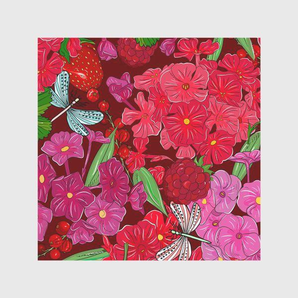 Скатерть «красные цветы, ягоды и стрекоза»