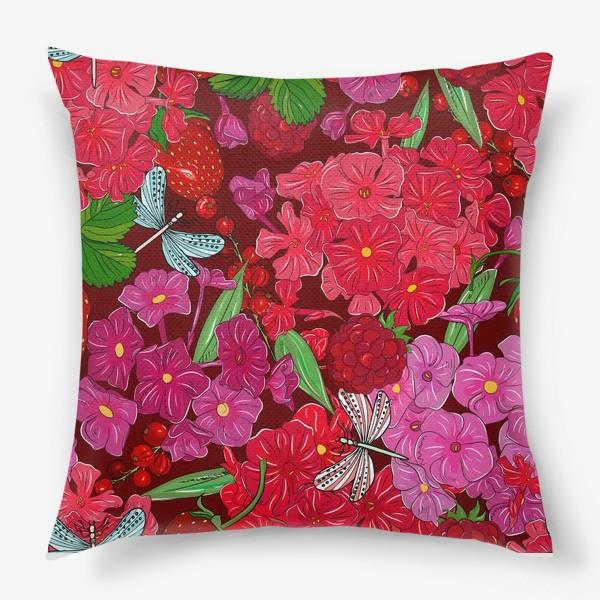Подушка «красные цветы, ягоды и стрекоза»