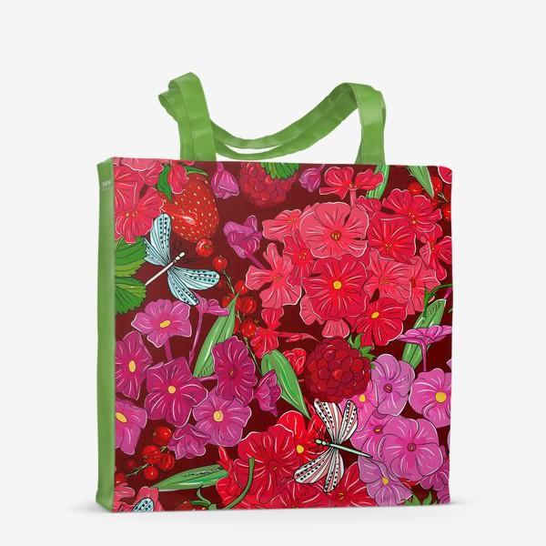 Сумка-шоппер «красные цветы, ягоды и стрекоза»