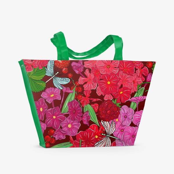 Пляжная сумка «красные цветы, ягоды и стрекоза»