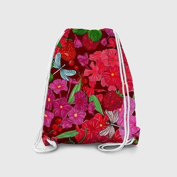 Рюкзак «красные цветы, ягоды и стрекоза»