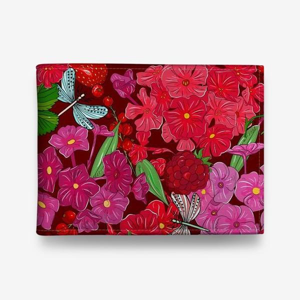 Кошелек «красные цветы, ягоды и стрекоза»