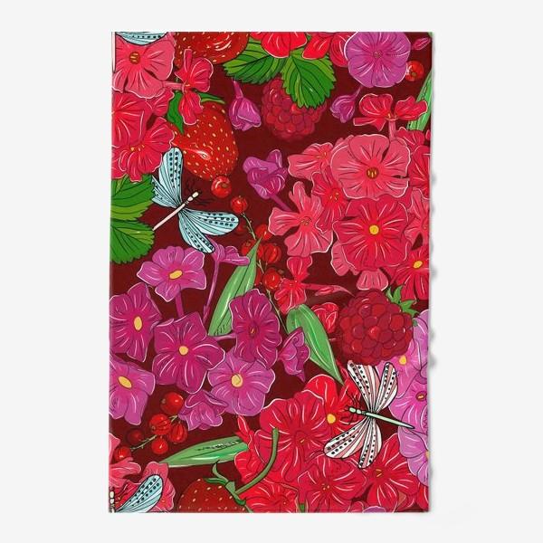 Полотенце «красные цветы, ягоды и стрекоза»