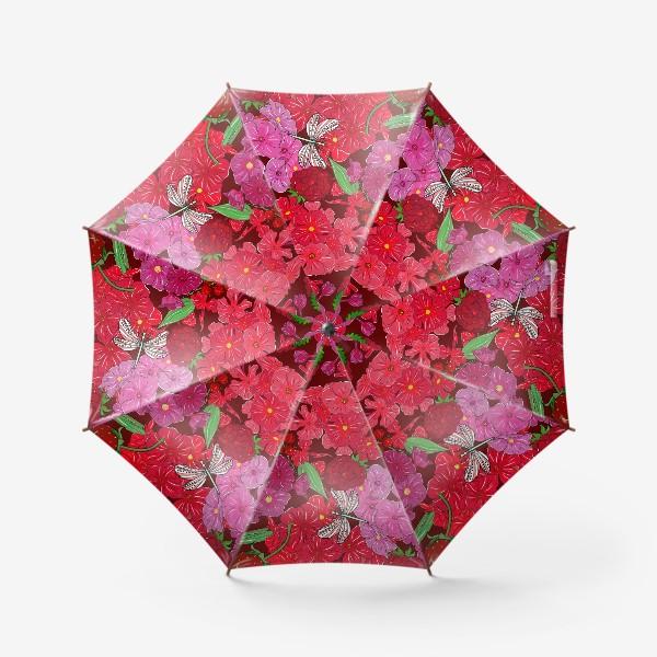 Зонт «красные цветы, ягоды и стрекоза»