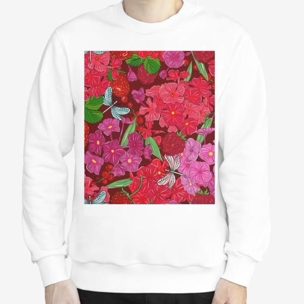 Свитшот «красные цветы, ягоды и стрекоза»