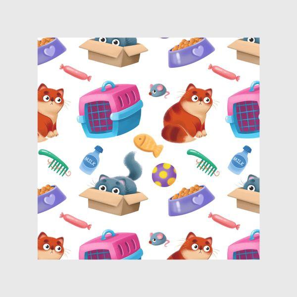 Скатерть «котики и аксессуары»
