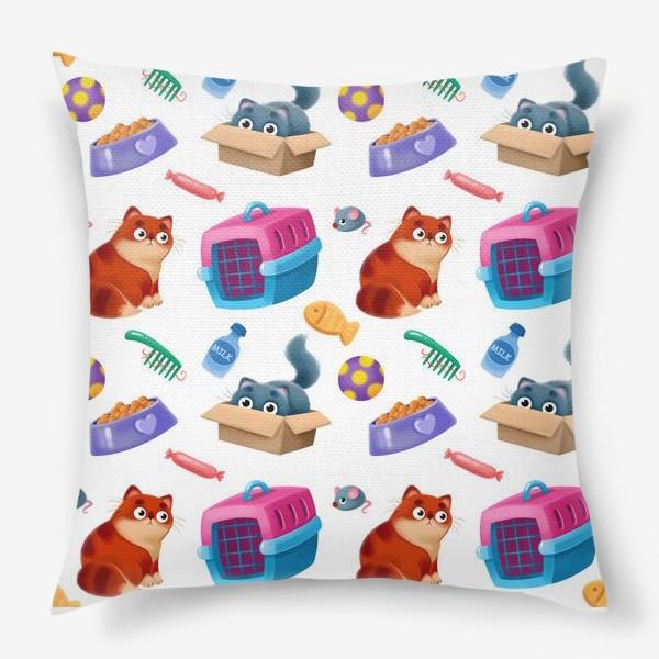 Подушка «котики и аксессуары»
