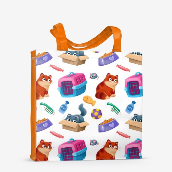 Сумка-шоппер «котики и аксессуары»
