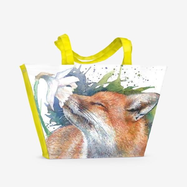 Пляжная сумка «Лиса цветок акварель»