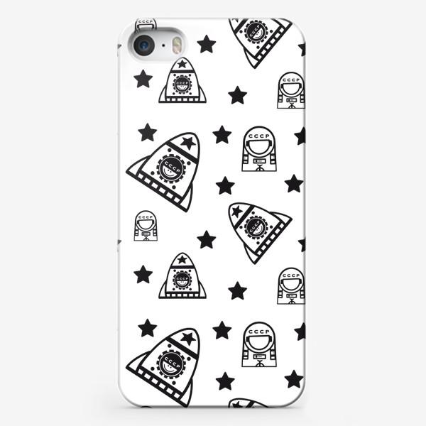 Чехол iPhone «Космонавтика. Космос. Ракета. Космонавт. Паттерн.»
