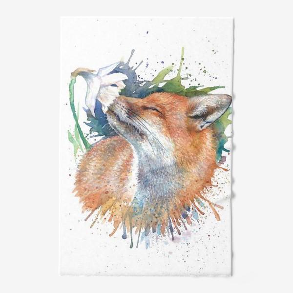 Полотенце «Лиса цветок акварель»
