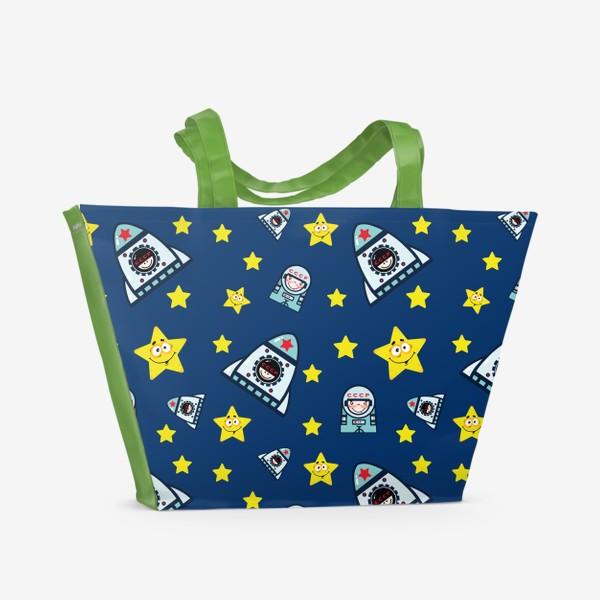 Пляжная сумка «Паттерн космос на фоне.»