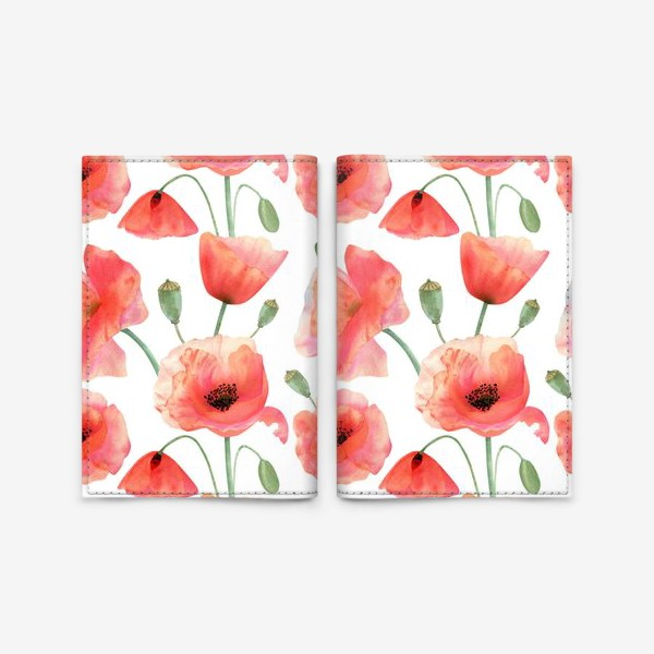 Обложка для паспорта «Seamless watercolor pattern pattern with poppy flower. Botanical illustration with red summer flowers, green bud»