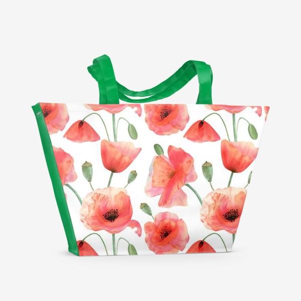 Пляжная сумка «Seamless watercolor pattern pattern with poppy flower. Botanical illustration with red summer flowers, green bud»