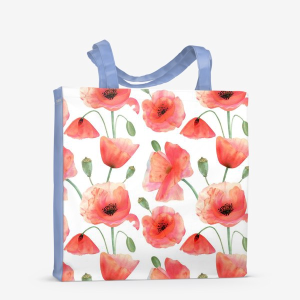 Сумка-шоппер «Seamless watercolor pattern pattern with poppy flower. Botanical illustration with red summer flowers, green bud»