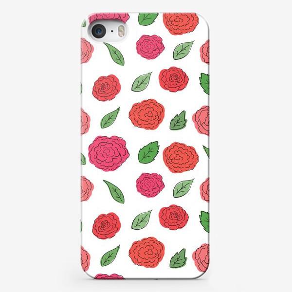 Чехол iPhone «Паттерн из розовых дудл цветов с листиками.»