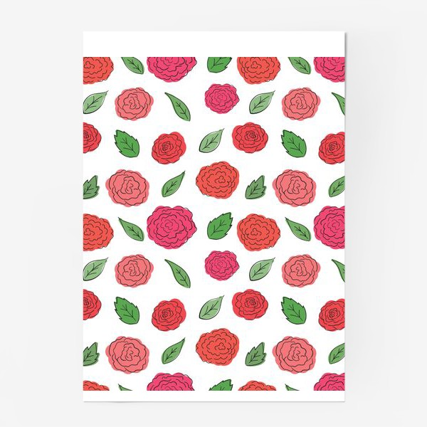 Постер «Паттерн из розовых дудл цветов с листиками.»