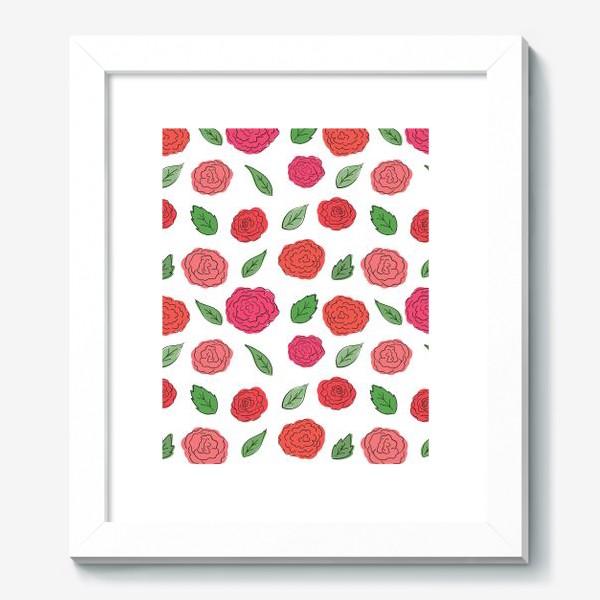 Картина «Паттерн из розовых дудл цветов с листиками.»