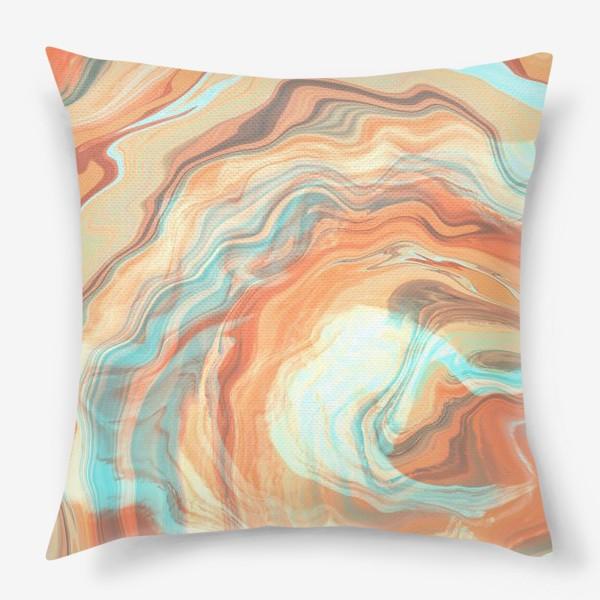 Подушка «абстрактный оранжевый фон с эффектом акрила »