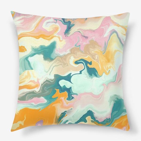 Подушка «абстрактный разноцветный  фон с эффектом акрила »