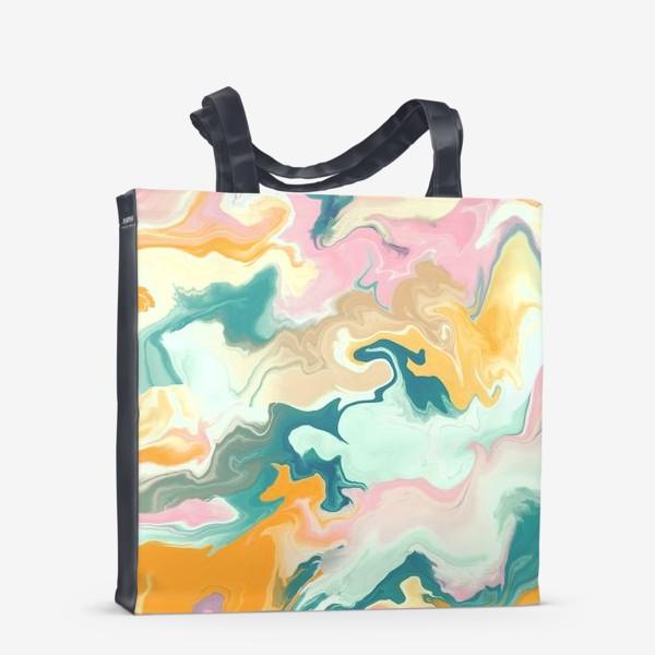 Сумка-шоппер «абстрактный разноцветный  фон с эффектом акрила »