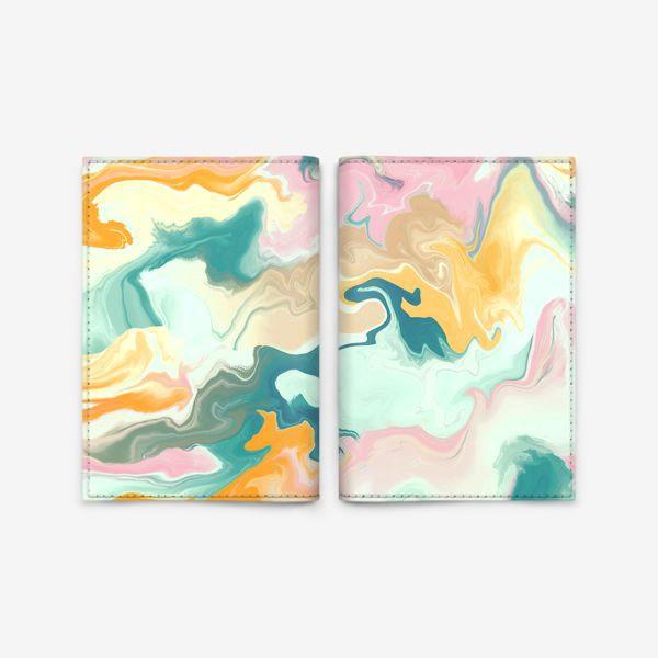 Обложка для паспорта «абстрактный разноцветный  фон с эффектом акрила »
