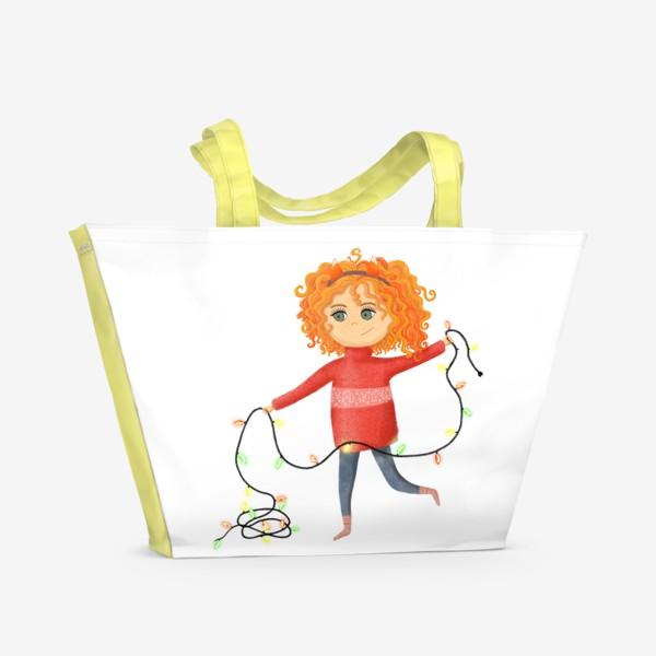 Пляжная сумка «Девочка с гирляндой»