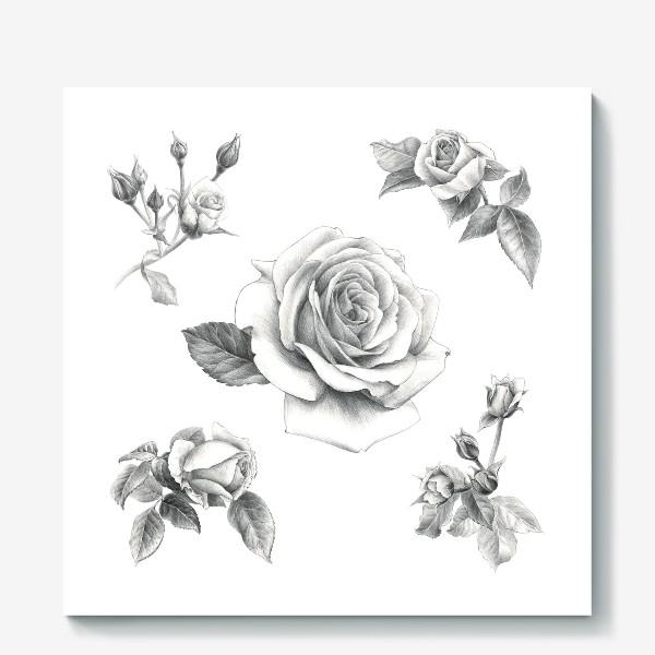 Холст «Винтажные розы на белом фоне ПОСТЕР»