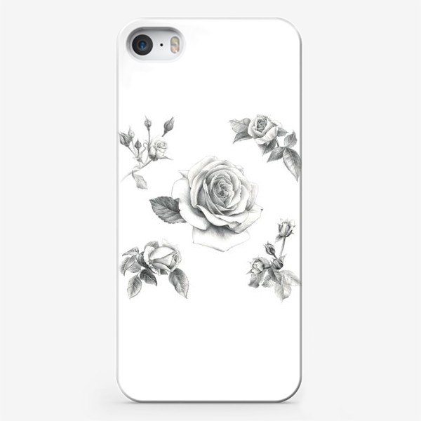 Чехол iPhone «Винтажные розы на белом фоне ПОСТЕР»