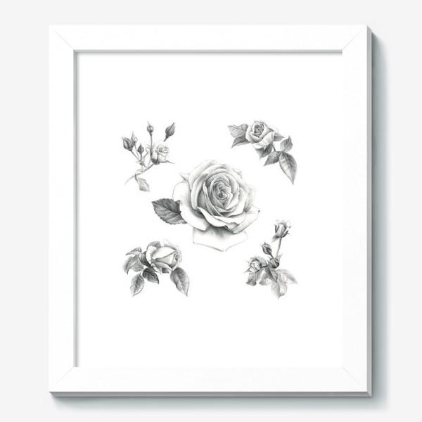 Картина «Винтажные розы на белом фоне ПОСТЕР»