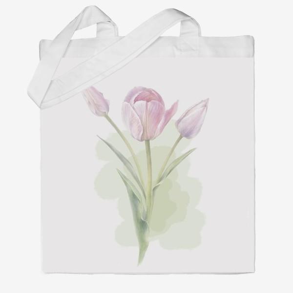 Сумка хб «Светло-сиреневые тюльпаны Букет 2»