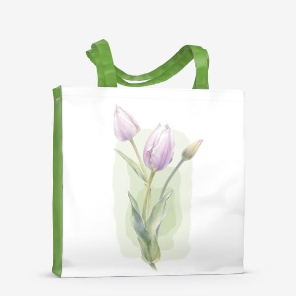 Сумка-шоппер «Светло-сиреневые тюльпаны Букет 1»
