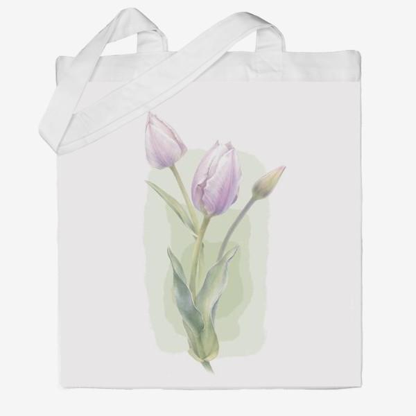 Сумка хб «Светло-сиреневые тюльпаны Букет 1»