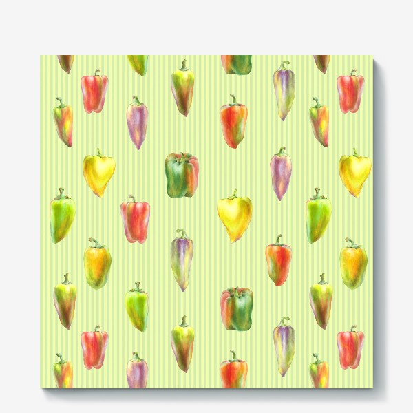 Холст «Разноцветные перцы на полосатом фоне»