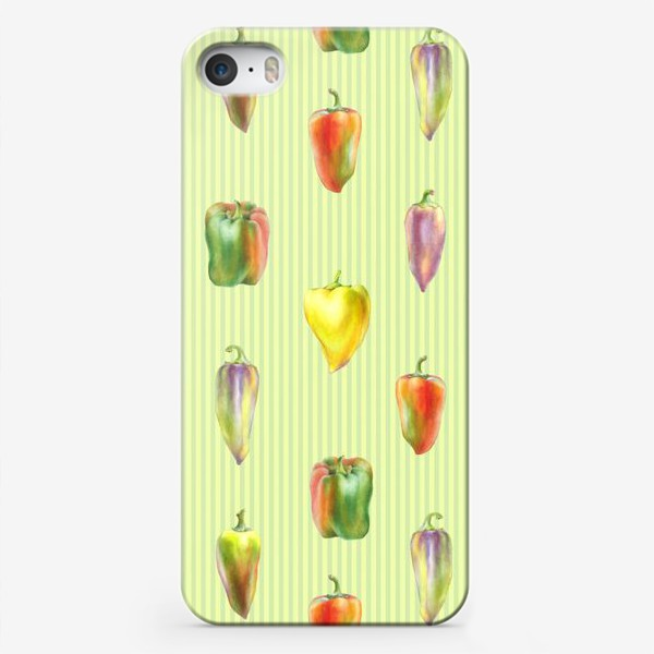 Чехол iPhone «Разноцветные перцы на полосатом фоне»