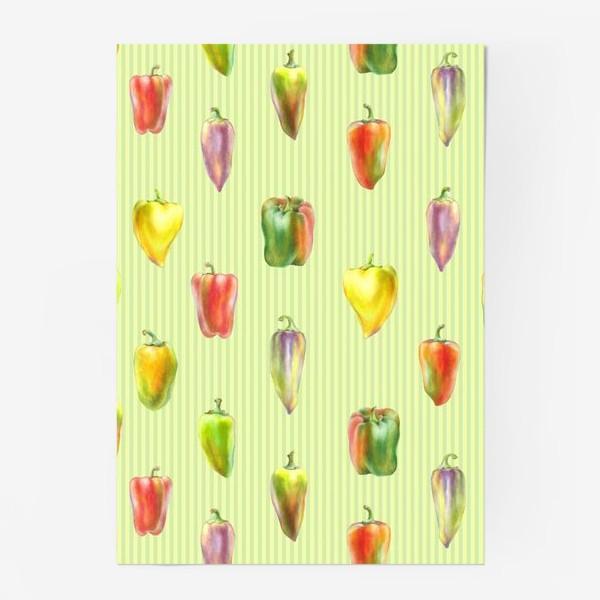 Постер «Разноцветные перцы на полосатом фоне»