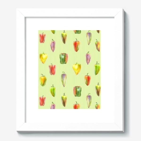 Картина «Разноцветные перцы на полосатом фоне»
