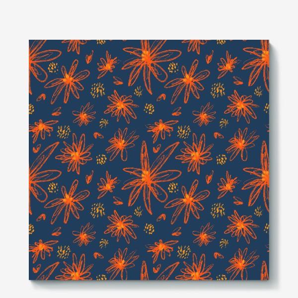 Холст «оранжевые цветы»