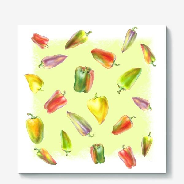 Холст «Разноцветные перцы на желтом фоне»