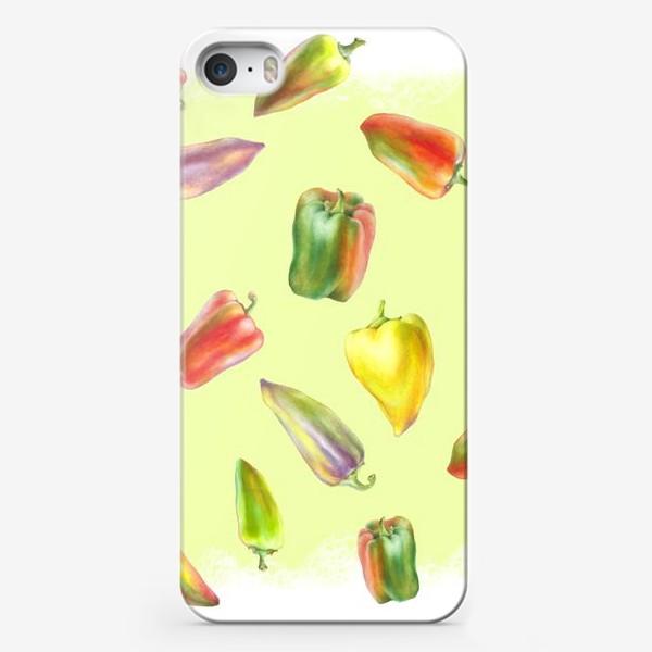 Чехол iPhone «Разноцветные перцы на желтом фоне»