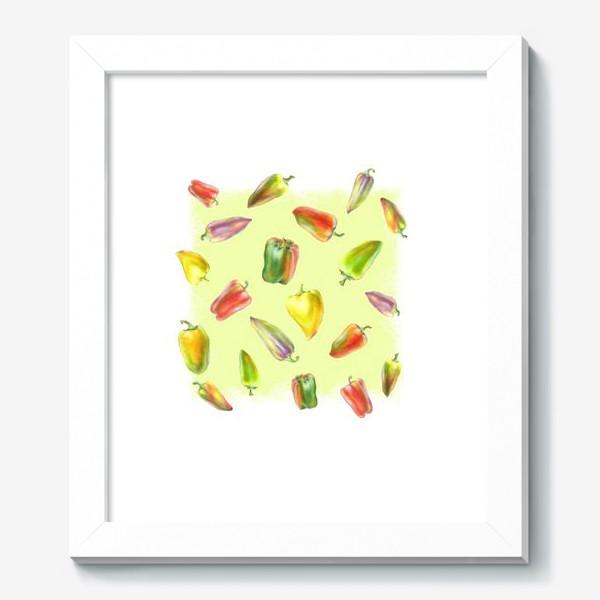 Картина «Разноцветные перцы на желтом фоне»