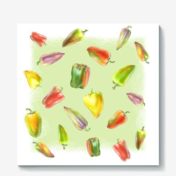 Холст «Разноцветные перцы на зеленом фоне»