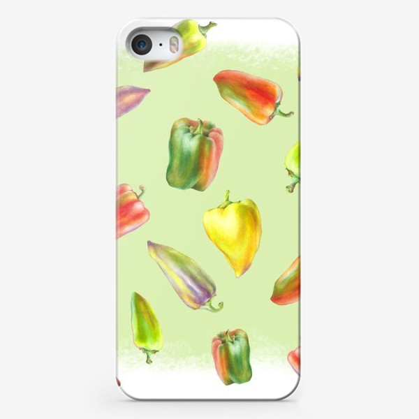 Чехол iPhone «Разноцветные перцы на зеленом фоне»