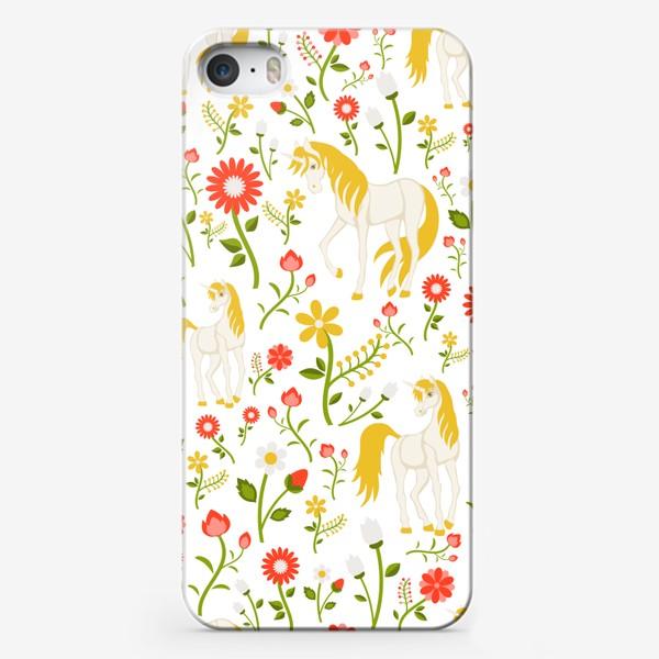 Чехол iPhone «Летний узор с единорогами»