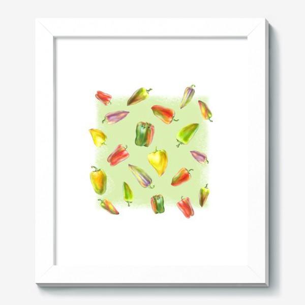 Картина «Разноцветные перцы на зеленом фоне»