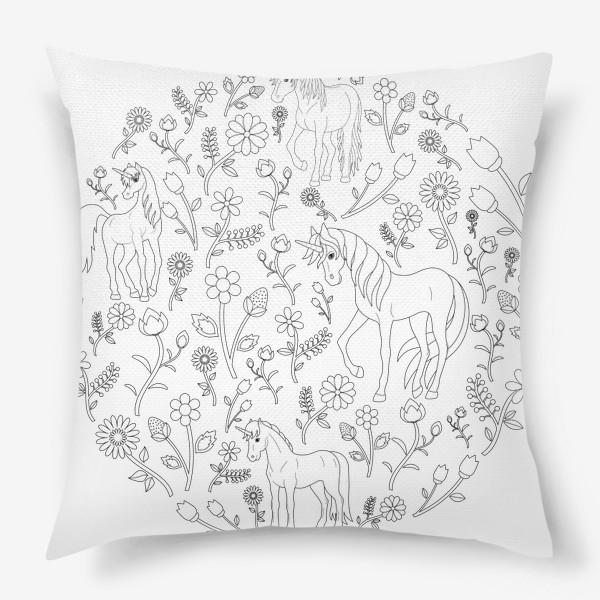Подушка «Круговой узор с цветами и единорогами»